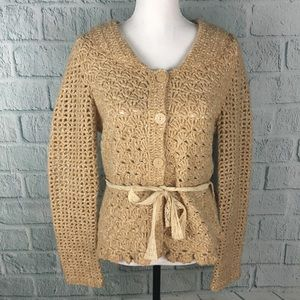 Moth Anthropologie Tan Peter Pan Collar Cardigan